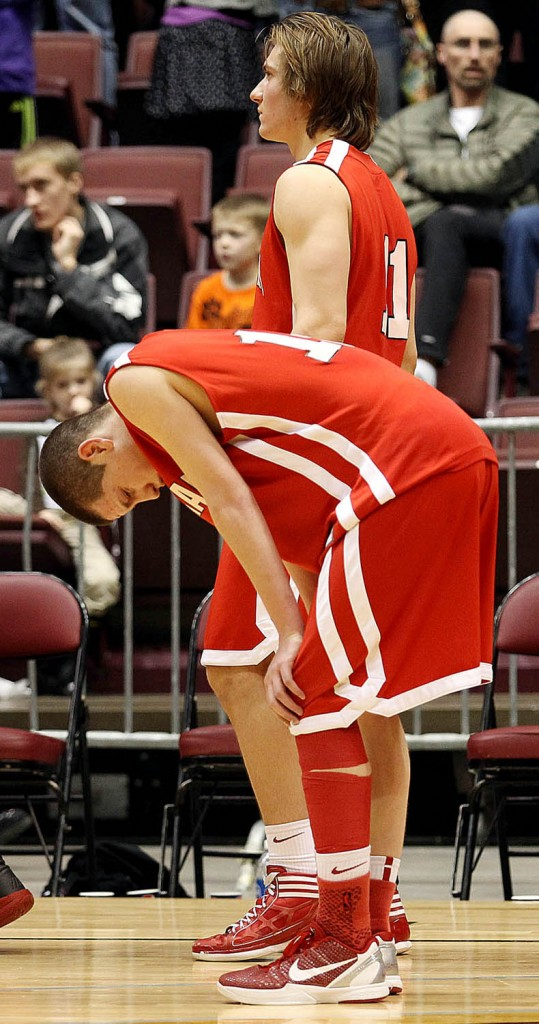 Cheyenne Central senior Colton Wardell reacts after the Indians are beat by Gillette 29-26 during the 2012 Wyoming State High School Basketball Championships at the Casper Event Center.