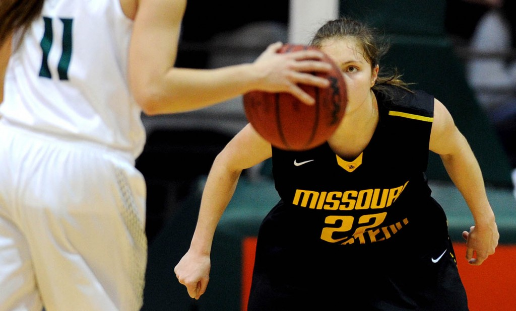 Northwest Missouri State junior Taylor Shull (11) is guarded by Missouri Western State sophomore Chelsea Dewey during an NCAA  college basketball game in Maryville, Mo. Missouri Western State won 73-65.
