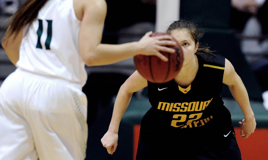 Northwest Missouri State junior Taylor Shull is guarded by Missouri Western State sophomore Chelsea Dewey. Missouri Western State won 73-65.