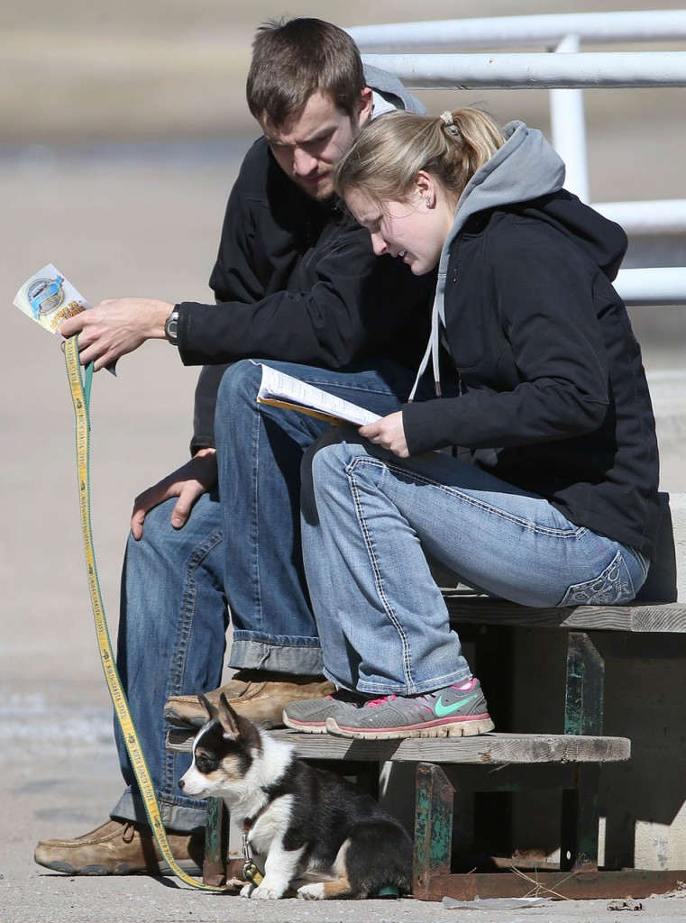 Joe Hendrickson and Katelynd Whitehead look over a Fonner Park program with their dog Tootsie Roll during opening day at the race track.