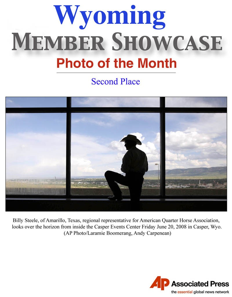 ** FILE **In this Friday, June 20, 2008 file photo, Billy Steele, of Amarillo, Texas, regional representative for American Quarter Horse Association, looks over the horizon from inside the Casper Events Center in Casper, Wyo. The Laramie Boomerang's Andy Carpenean is the Second Place winner of the June 2008 member photo of the month in Wyoming. (AP Photo/Laramie Boomerang, Andy Carpenean)