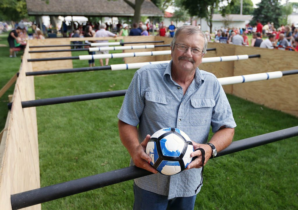 Orie Friesen is the organizer for human foosball during Henderson Community Days.