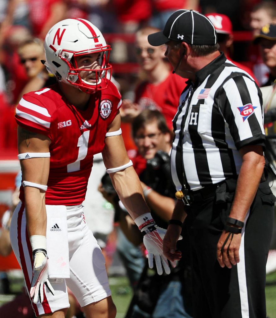 Nebraska wide receiver Jordan Westerkamp talks with a referee after scoring a touchdown against Wyoming at Memorial Stadium.
