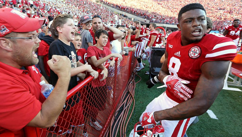Nebraska wide receiver Stanley Morgan Jr. celebrates the Cornhuskers 35-32 victory against Oregon at Memorial Stadium.
