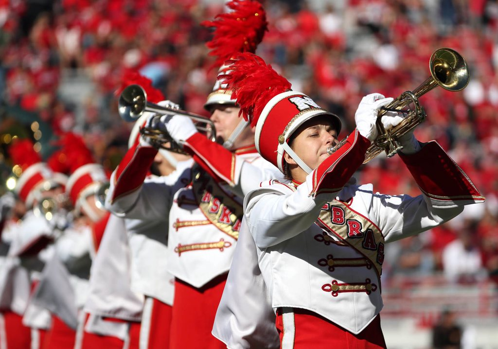 The University of Nebraska Cornhusker Marching Band performs during the Nebraska vs. Wyoming NCAA football game in Lincoln.