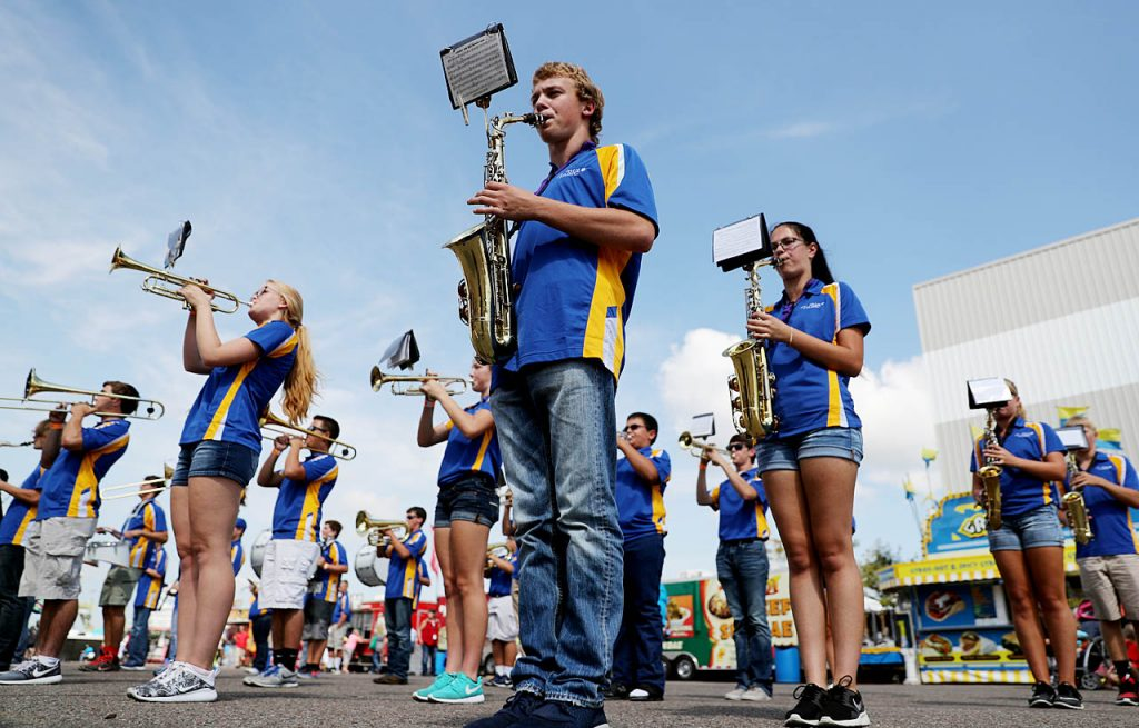 The St. Paul High School Wildcats marching band performs at the 2016 Nebraska State Fair.