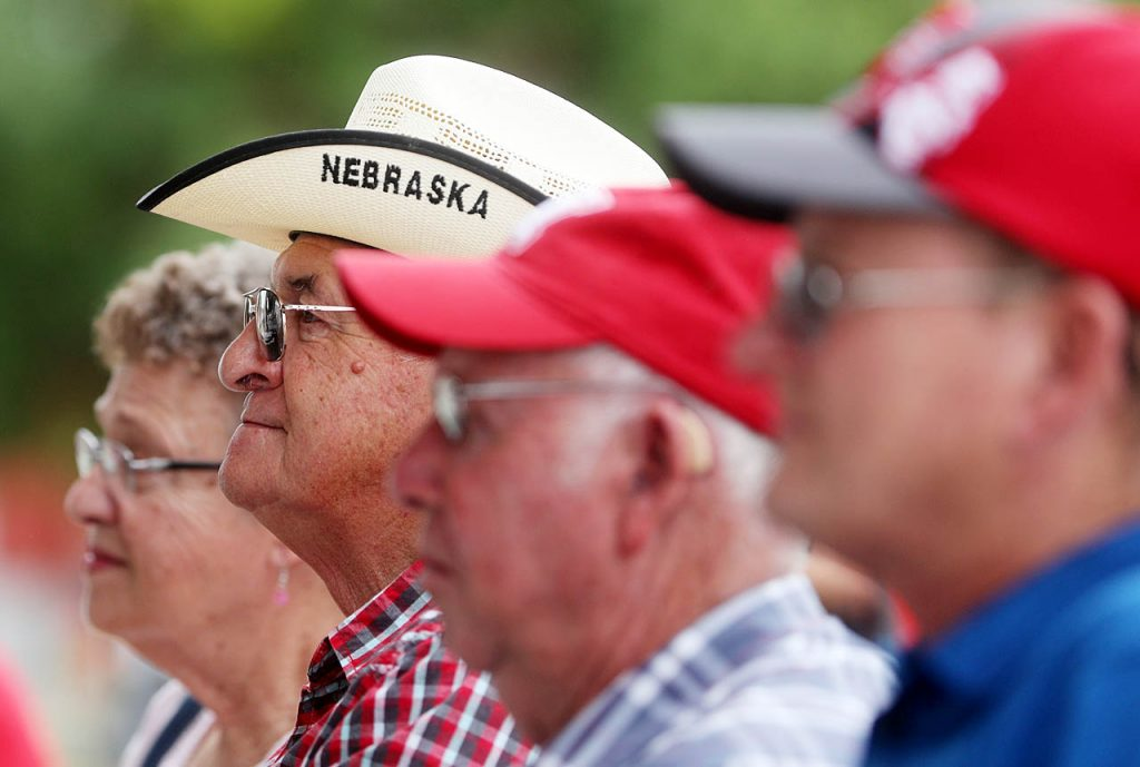 Larry Sell of LaVista dons a Nebraska cowboy hat while watching The Clogging Connection on the Family Fun Zone Stage at the 2016 Nebraska State Fair Monday.