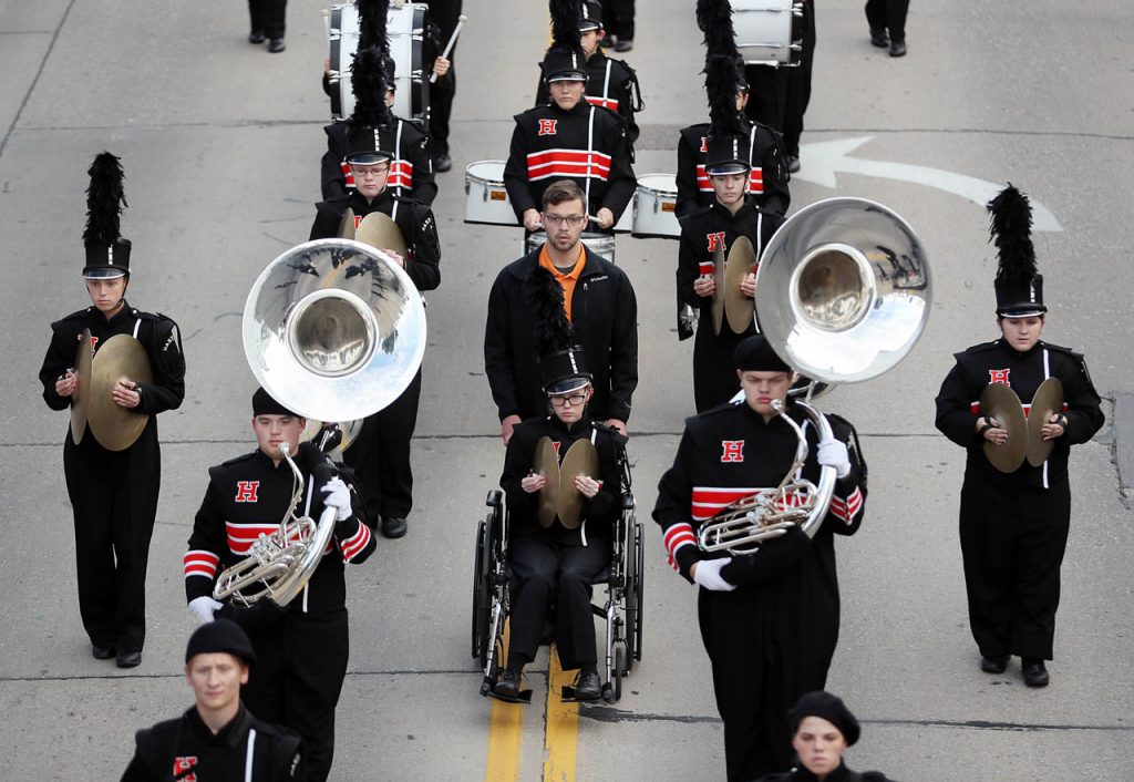 The Hastings Marching Tigers Band head toward the Eddy Street underpass during the 2016 Harvest of Harmony Parade.