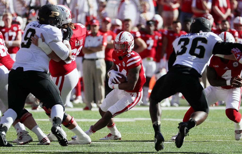 Nebraska running back Terrell Newby finds a hole inside the Purdue defense at Memorial Stadium in Lincoln.