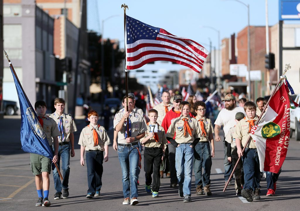 St. Paul's Lutheran Church troop 207 marches in the Veterans Recognition Parade in Hastings, Neb.