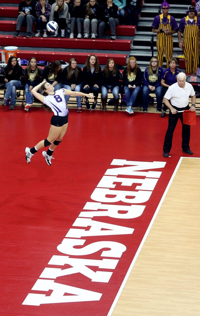 Hampton senior Tristin Mason serves against WYNOT during the Class D2 2016 NSAA State Volleyball Championship at the Devaney Sports Center.