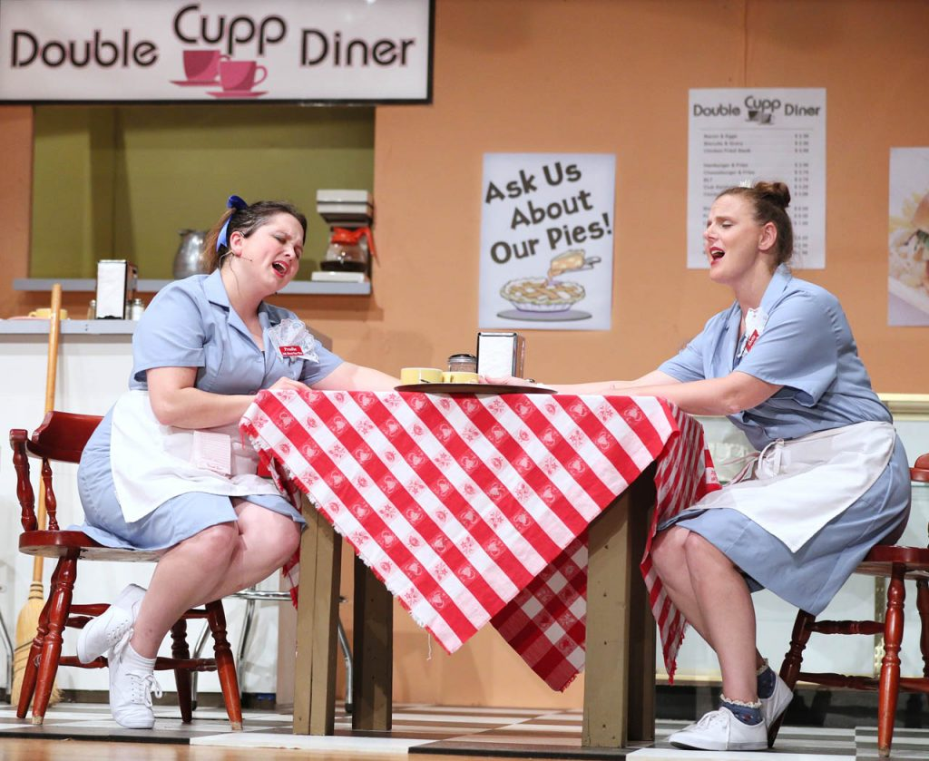 "Prudie Cupp (Kelsey Helget) and Rhetta Cupp (Jana Thompson) sing ""Could we ever be Children Again"" during a dress rehearsal of Pump Boys and Dinettes musical comedy put on by Grand Island Little Theatre at College Park Auditorium."