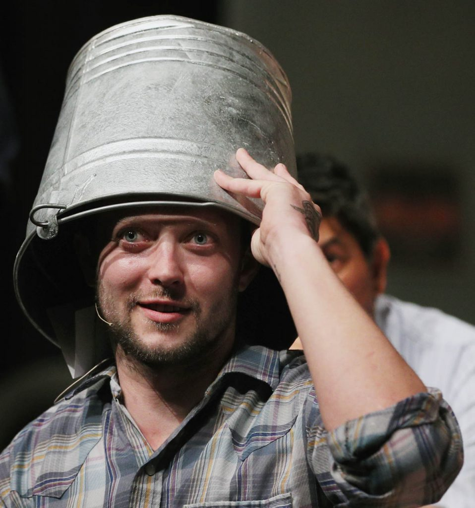 A newcomer to Grand Island Little Theatre, Tyler Jacobs, plays the role of Eddie during Pump Boys and Dinettes. Jacobs peers out from under a pail between acts.