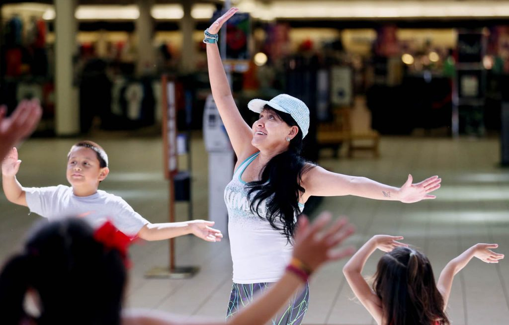 Belkin Gonzalez leads a children's Zumba class inside the Conestoga Mall Wednesday afternoons throughout the summer.