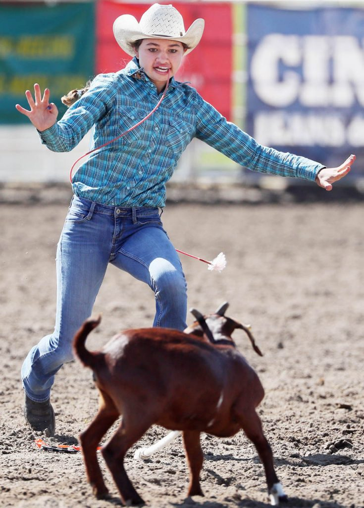 Brooklyn Leach competes in goat tying during the 2017 Nebraska High School Rodeo Finals at the Adams County Fairgrounds Thursday.