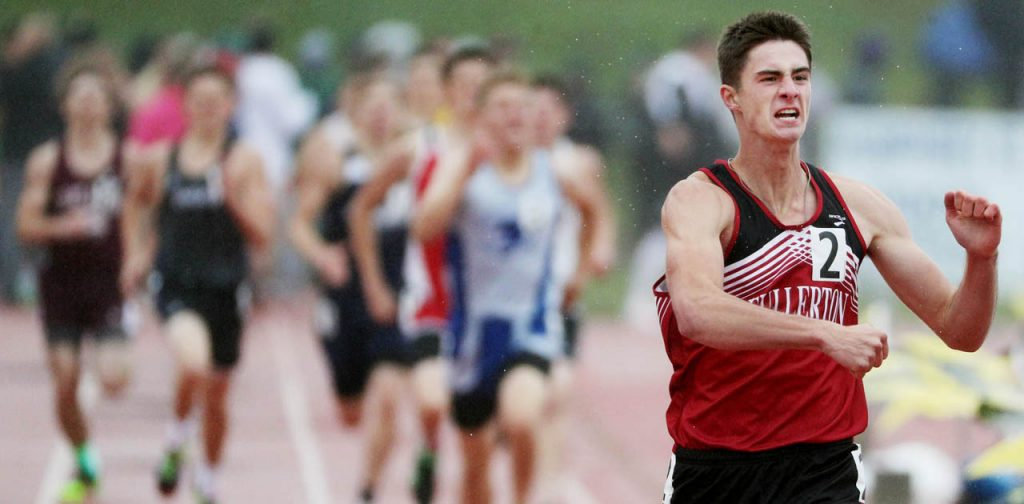 Fullerton's Brent Wetovick wins the boy's Class D 800-meter run during the Nebraska State Track & Field Meet at Omaha Burke Stadium.