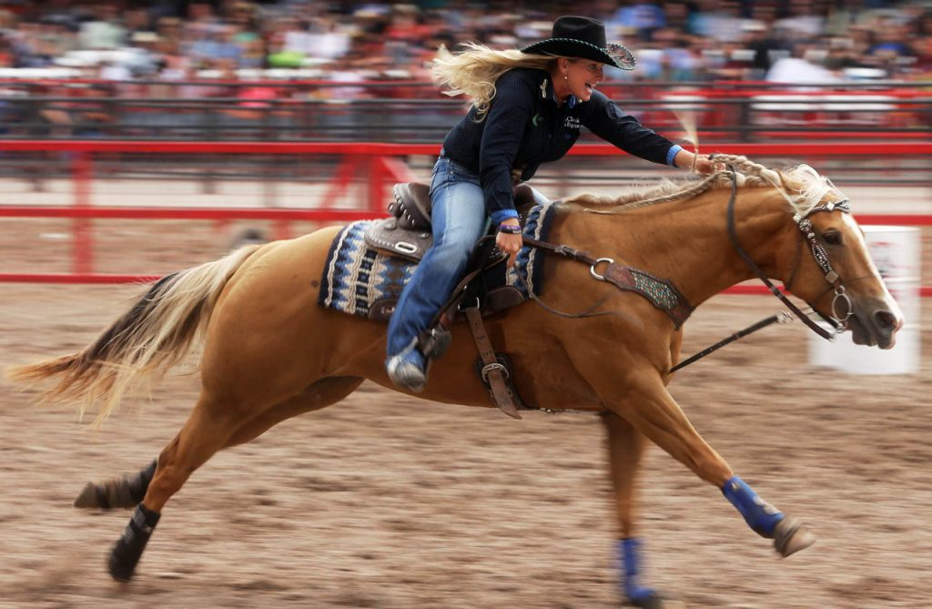 Tammy Fischer of Ledbetter, Texas is on the homestretch on her horse to run a 17.74 in barrel racing at Cheyenne Frontier Days. Fischer's time was close to the record of Kristie Peterson of 17.03 set in 1996. (Photo by Andrew Carpenean)