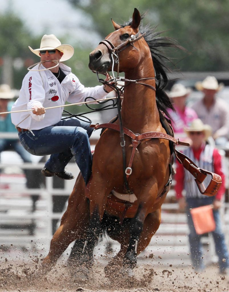 Reese Riemer of Stinnett, Texas competes in tie-down roping during a Cheyenne Frontier Days rodeo.