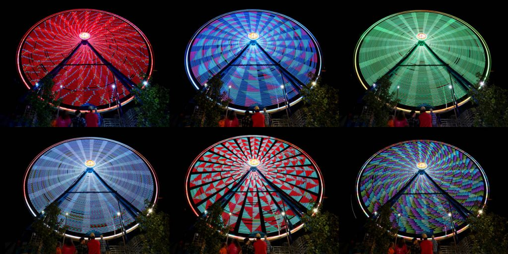 People wait in line to take a ride on the Giant Gondola Wheel on the midway during the Nebraska State Fair. (Independent/Photos by Andrew Carpenean, Illustration by Barrett Stinson)