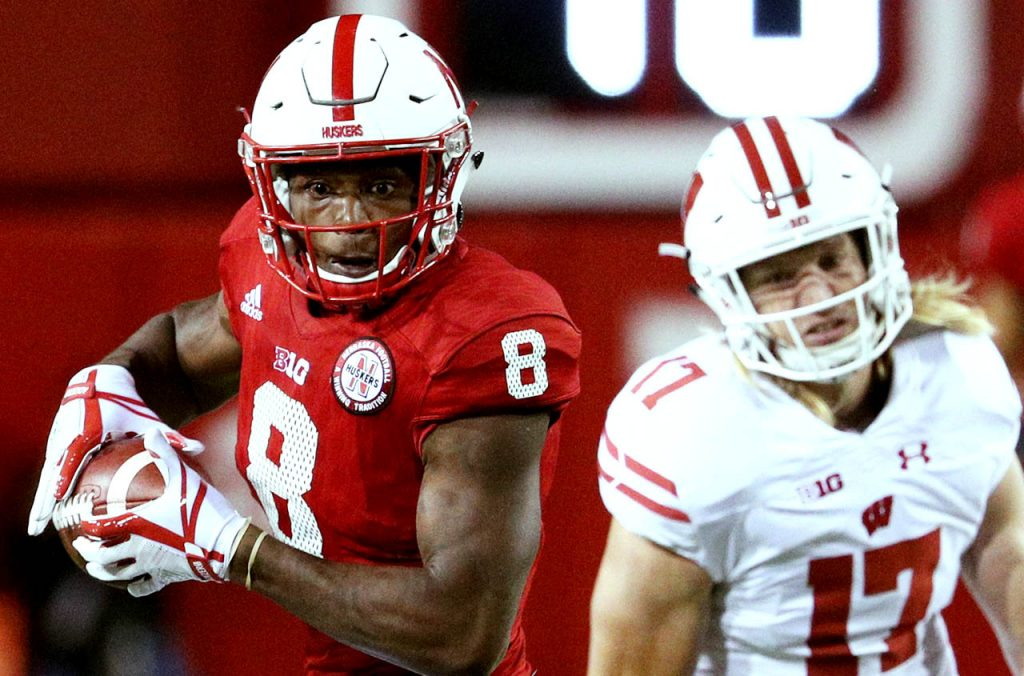 Nebraska wide receiver Stanley Morgan Jr. makes a turn after hauling in a pass and out running Wisconsin linebacker Andrew Van Ginkel (17) to score a touchdown late in the second quarter Saturday night at Memorial Stadium.