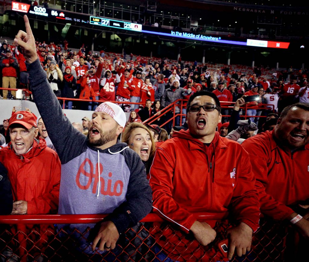 Ohio State fans cheer as their Buckeyes beat Nebraska 56-14 at Memorial Stadium in Lincoln. (Independent/Andrew Carpenean)