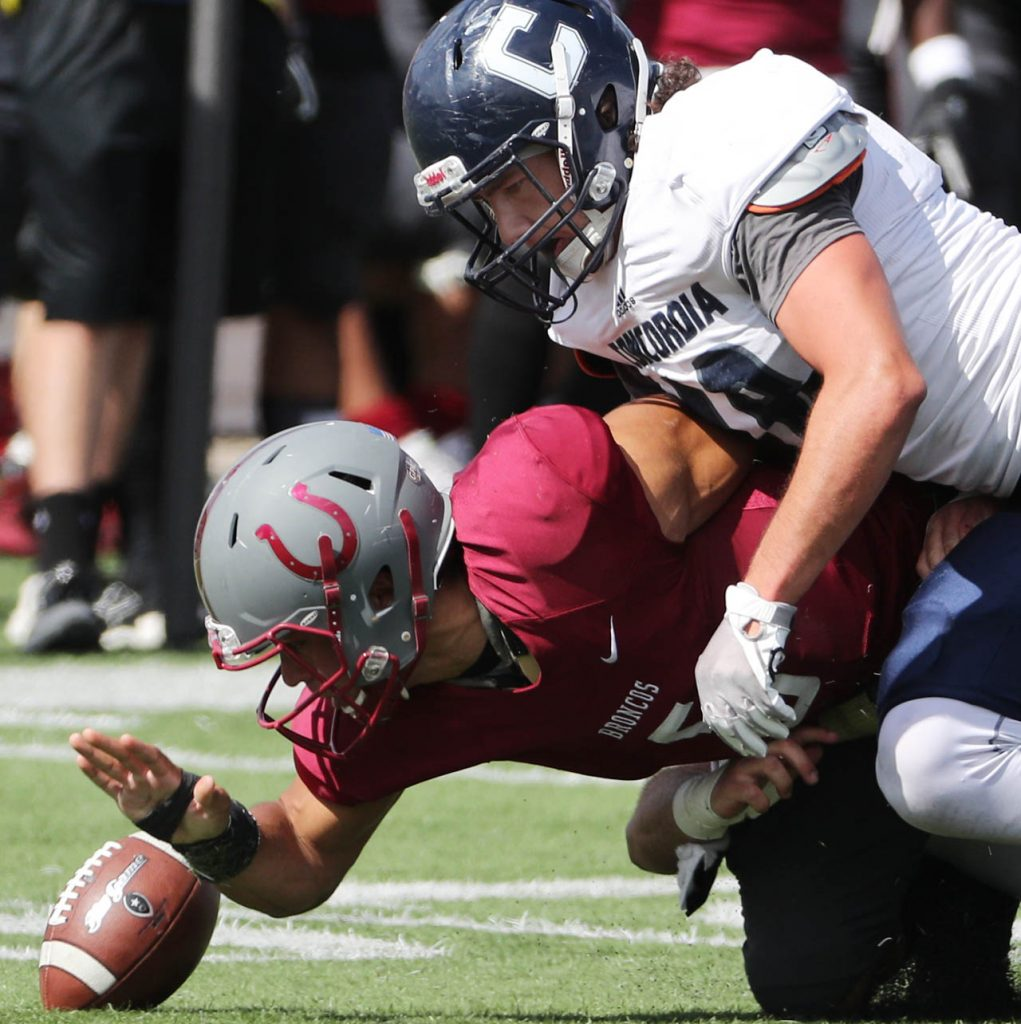 Concordia senior linebacker Shane Scott forces Hastings College quarterback Anthony Cloyd (5) to fumble resulting in a turnover during second quarter action in Hastings.