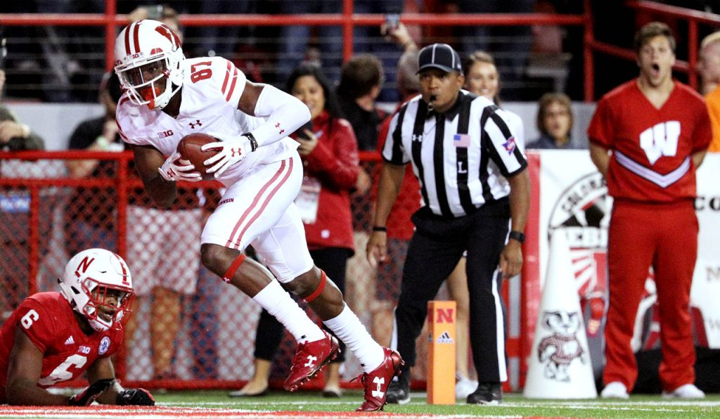 Wisconsin wide receiver Quintez Cephus scores a touchdown as Nebraska defensive back Eric Lee Jr. falls down in the end zone during the fourth quarter at Memorial Stadium.