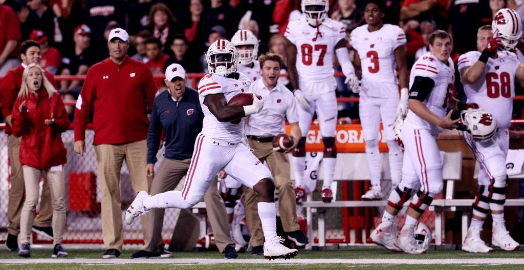 Wisconsin linebacker Chris Orr gets a pick six touchdown against Nebraska Saturday night at Memorial Stadium.