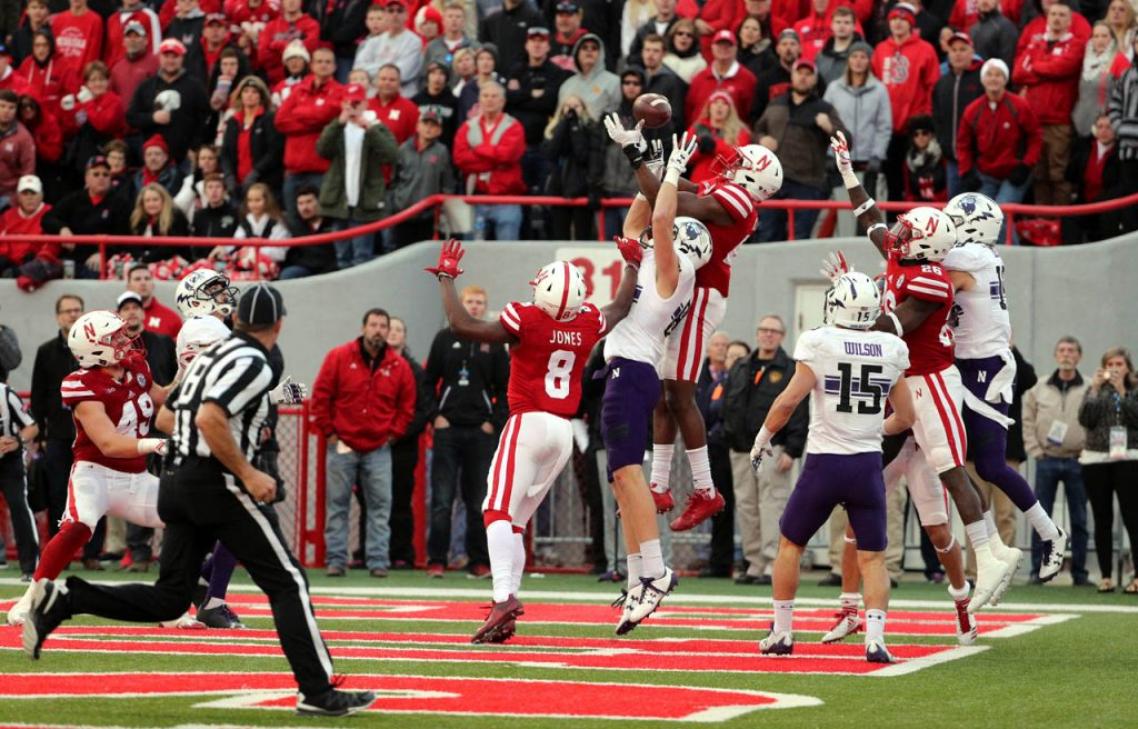 With the score tied 24-24, Nebraska defensive back Joshua Kalu breaks up a pass in the end zone on the last play of regulation. Northwestern won 31-24 in overtime.