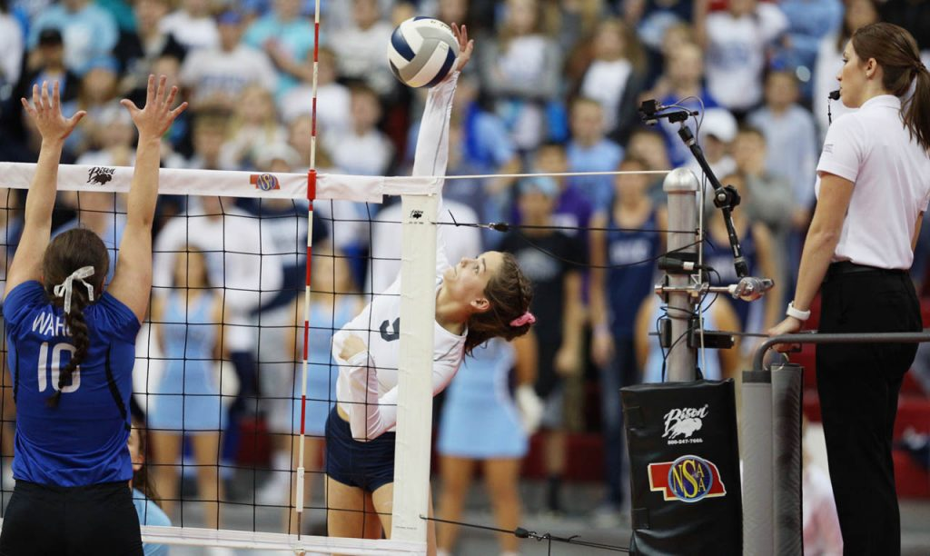 Grand Island Central Catholic sophomore Allison Kalvoda goes for a kill during the Class C1 State Volleyball Championship against Wahoo at the Bob Devaney Sports Center Saturday.