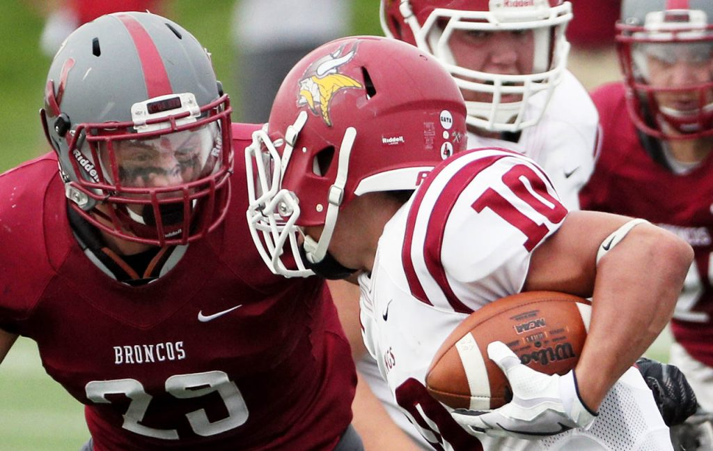 Hastings College junior linebacker Nathan Howe comes face to face with Valley City State running back Louis Quinones during first half action Saturday.